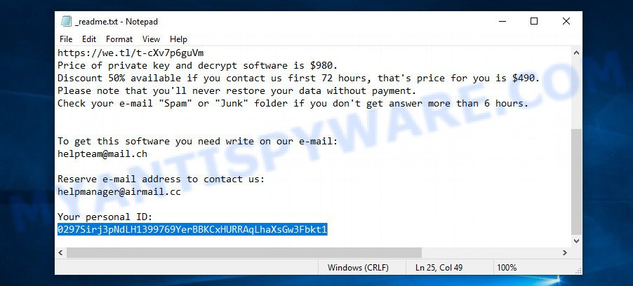 STOP ransomware - personal ID