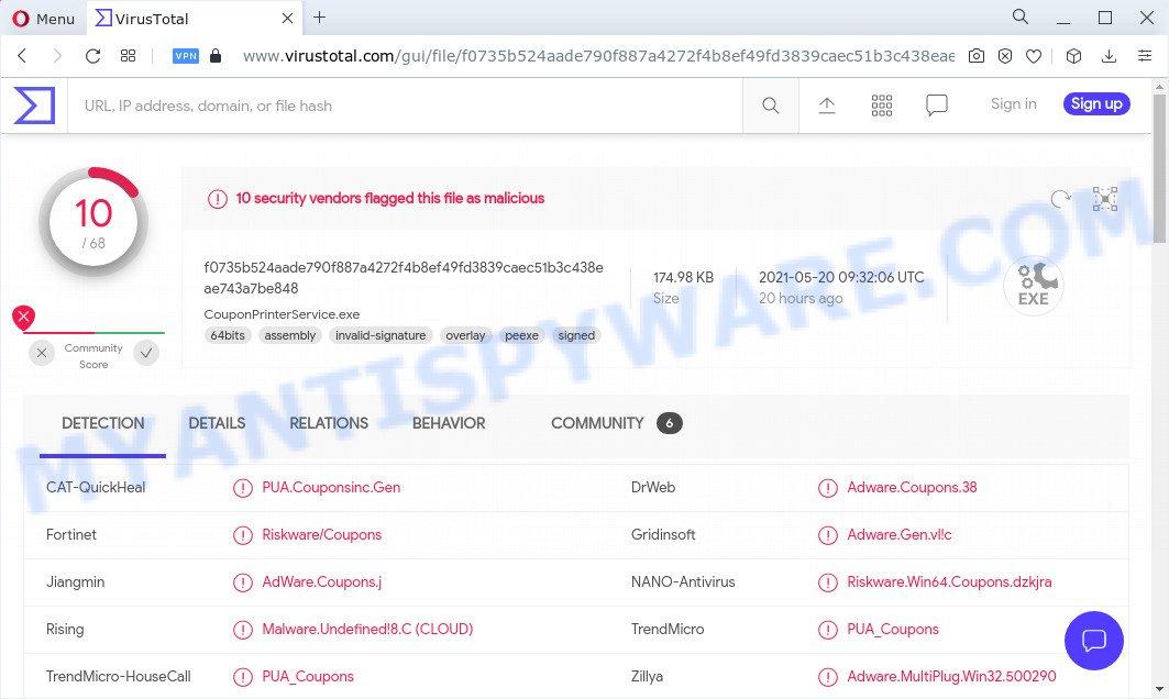 VirusTotal scan results (Coupon Printer)