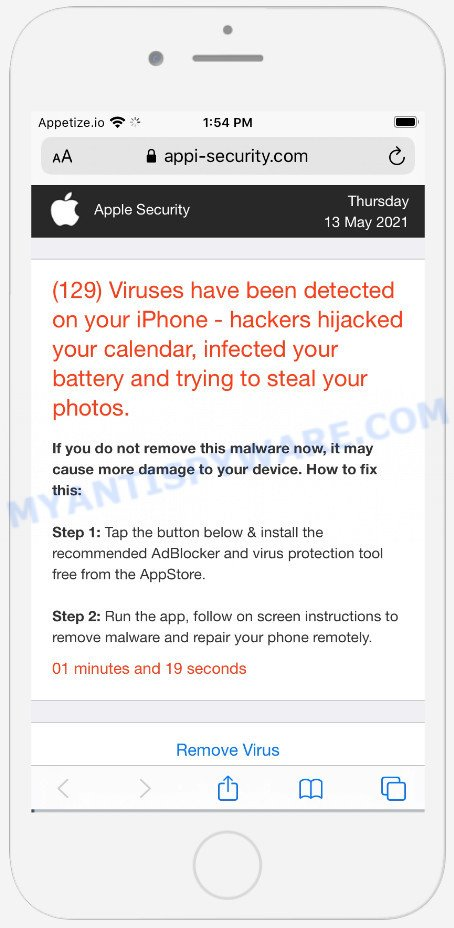 Viruses have been detected on your iPhone SCAM