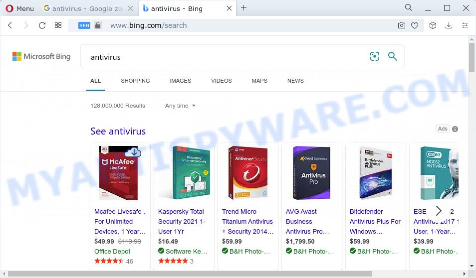 browser hijacker redirects to Bing