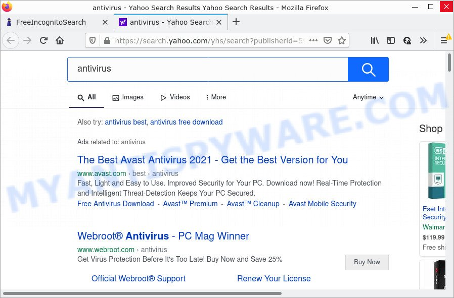 FreeIncognitoSearch redirects