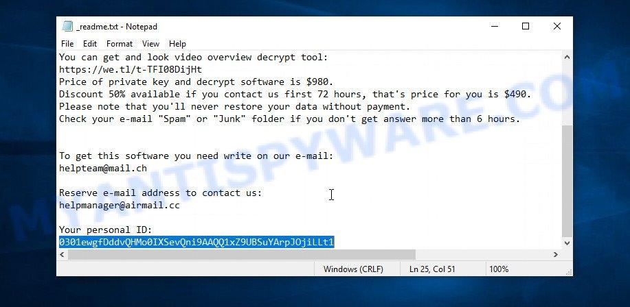Pahd ransomware - Personal ID