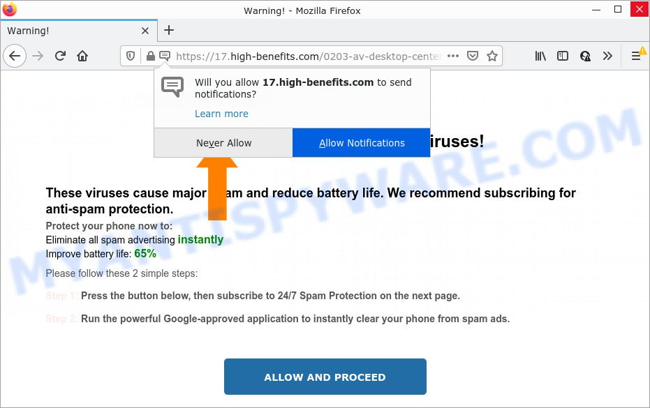 Your device is infected with a spam virus pop-up
