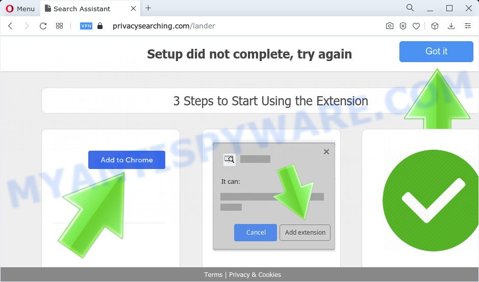 privacysearching pop-ups