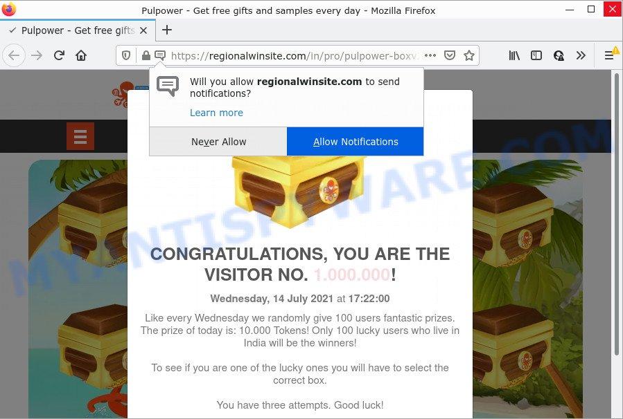CONGRATULATIONS YOU ARE THE VISITOR NO. 1.000.000 scam