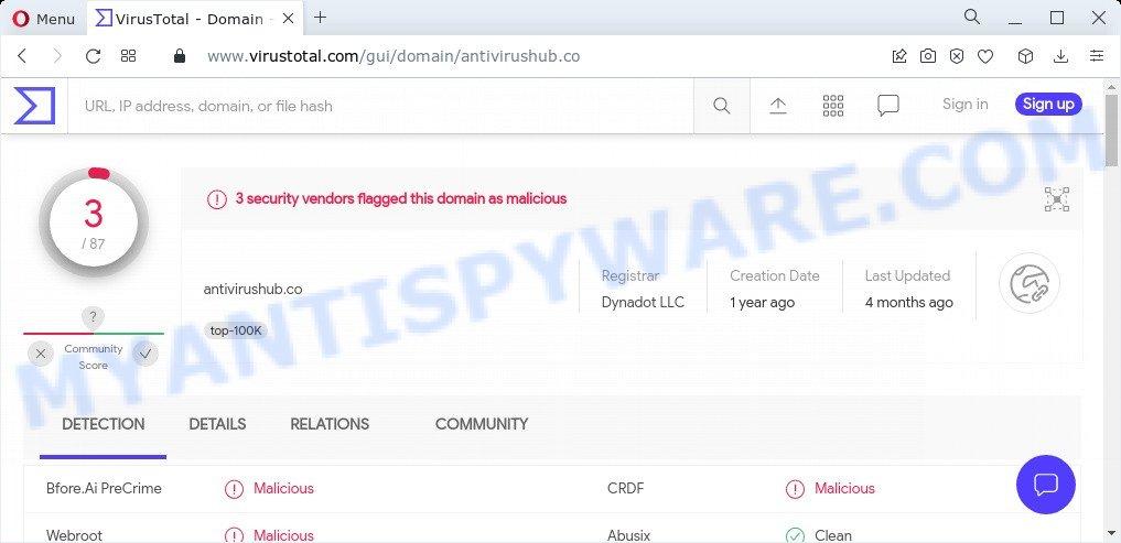 Antivirushub.co malware