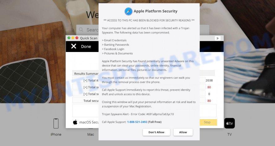 Apple Platform Security pop-up SCAM