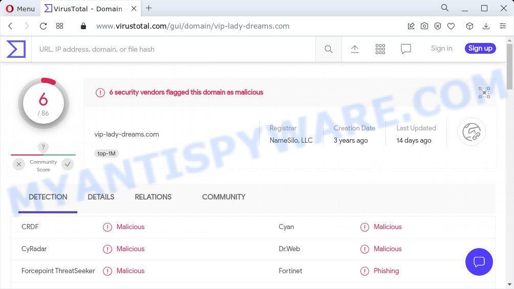 vip-lady-dreams.com malware