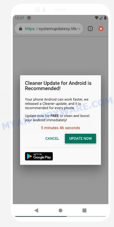 cleaner update for android is recommended pop-up SCAM
